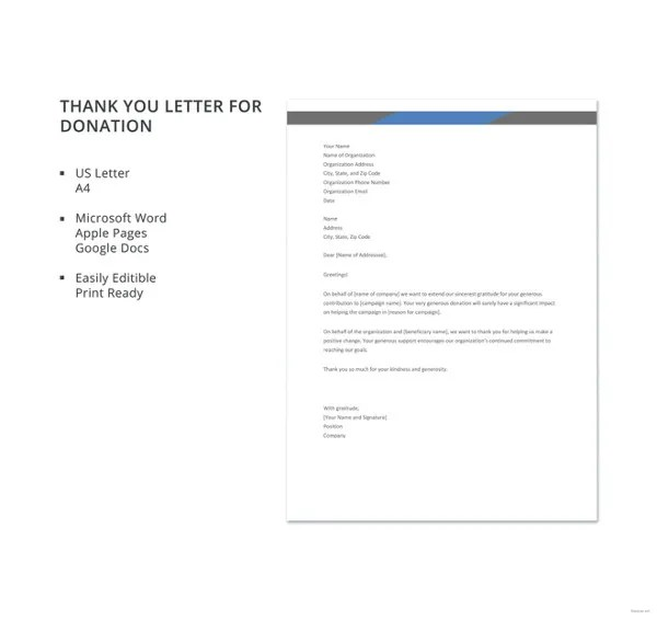 10+ Thank You Letters For Donation - Free Sample, Example, Format - Thank You Letters For Donation
