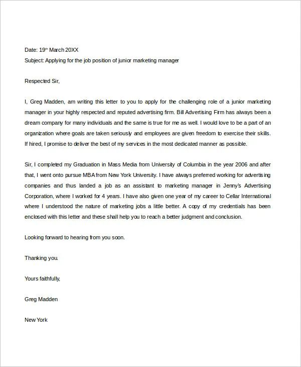 professional job cover letter