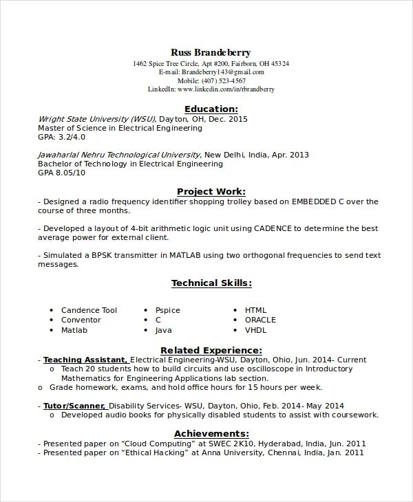 electrical engineers resume examples