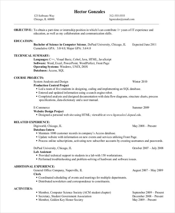 9+ Entry Level Resume Examples - PDF, DOC Free  Premium Templates - examples of entry level resumes
