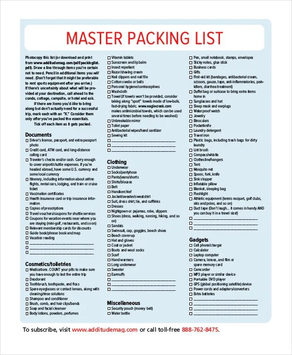 Packing List Template - 14+ Free Word, PDF Documents Download Free