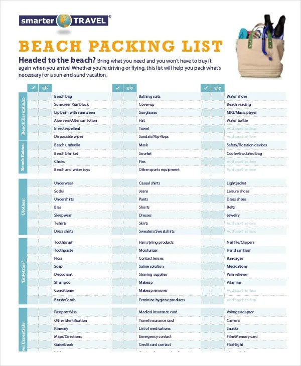 Packing List Template - 14+ Free Word, PDF Documents Download Free - Vacation Packing List Printable