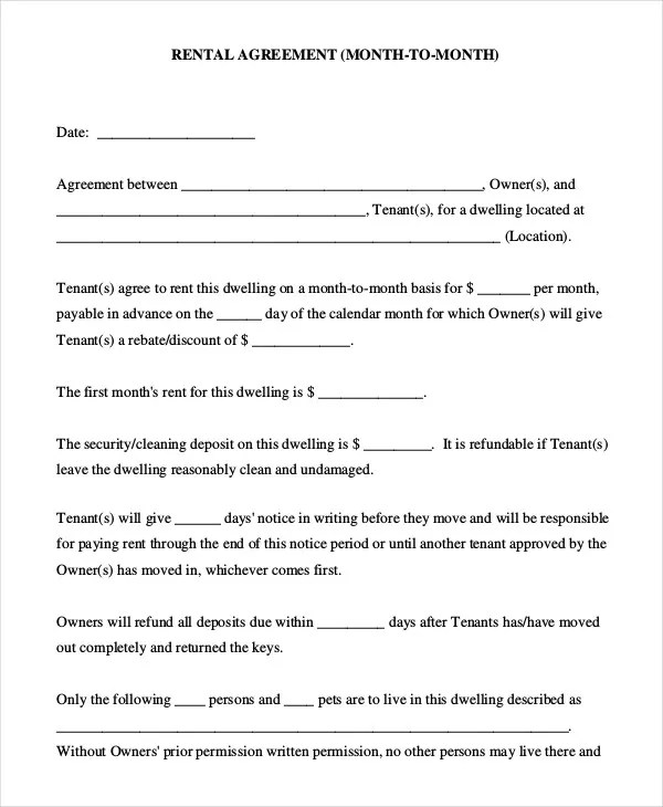 Rent Agreement Form Rental Agreement Form Doc Free Download 13+ - agreement form doc