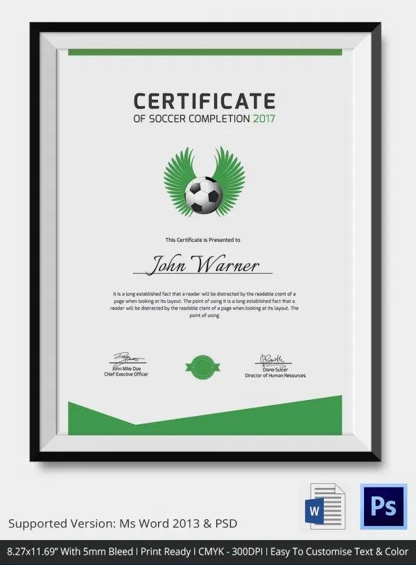 Soccer Certificate Word Template | ophion.co