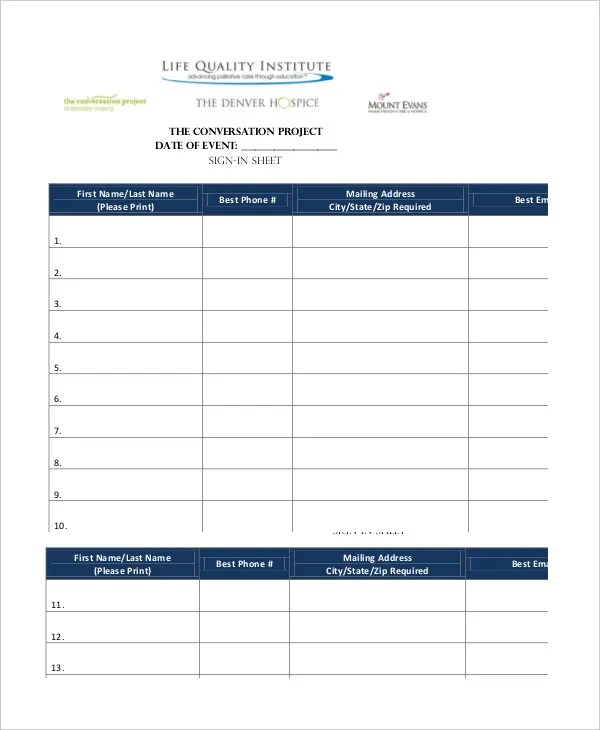 Event Sign In Sheet Template - 16+ Free Word, PDF Documents Download