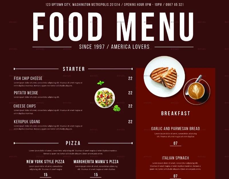 32+ Beautiful Restaurant Menu Designs - PSD, EPS, AI Free