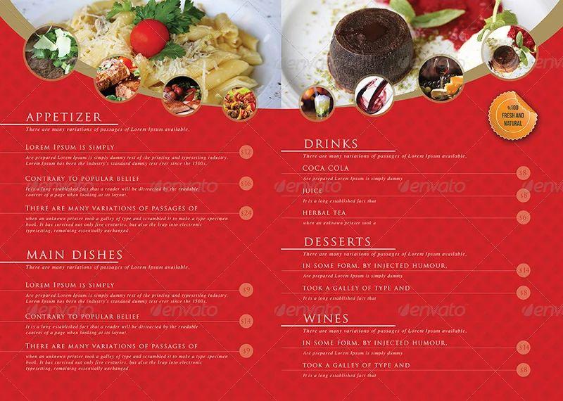restaurant menu layouts