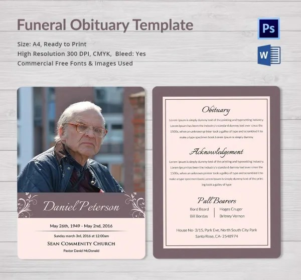 Obituary Template - 10+ Free Word, PSD Format Download Free - funeral obituary template
