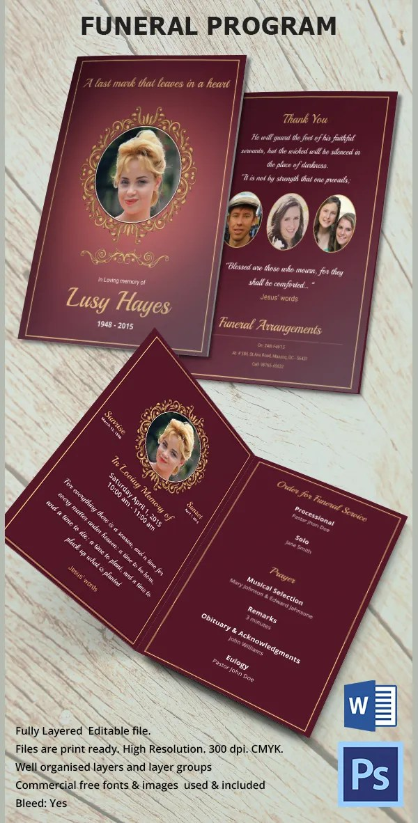 Funeral Program Template - 16+ Word, PSD Document Download Free