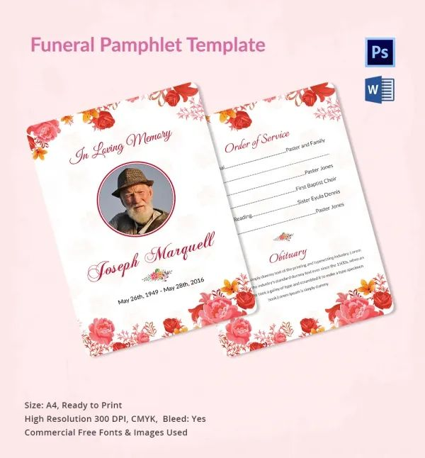 funeral order of service template free download