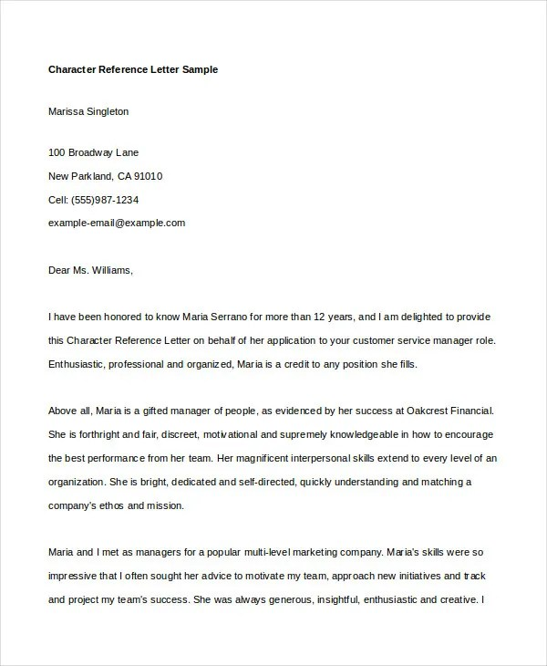 Character Reference Letter - 6 Free Word, PDF Documents Download - character reference letter for employee