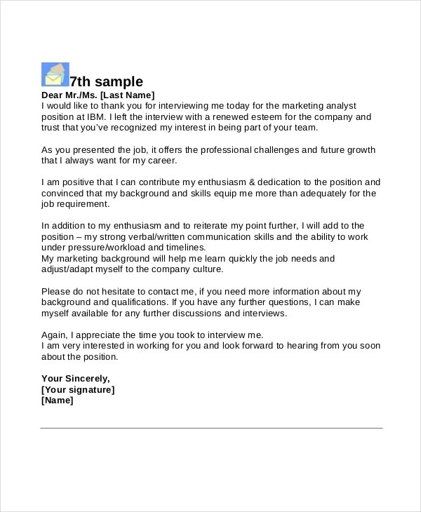 10+ Interview Thank You Letters - Free Sample, Example, Format - thank you email after job offer