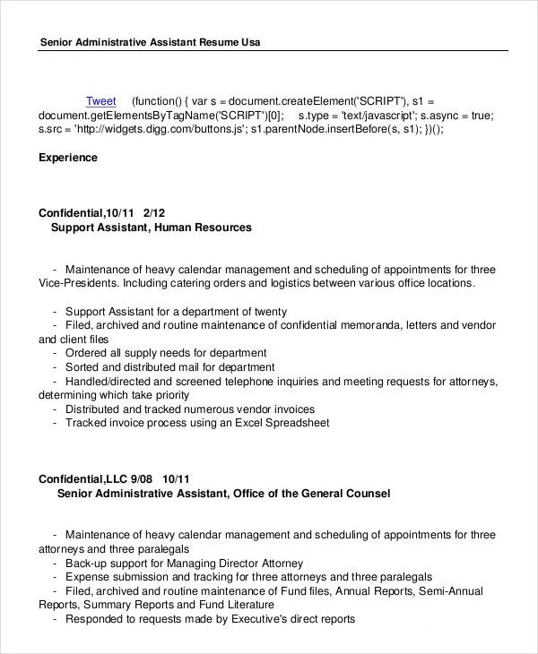 Administrative Assistant Resume - 14+ Free Word, PDF, PSD - executive assistant resume summary