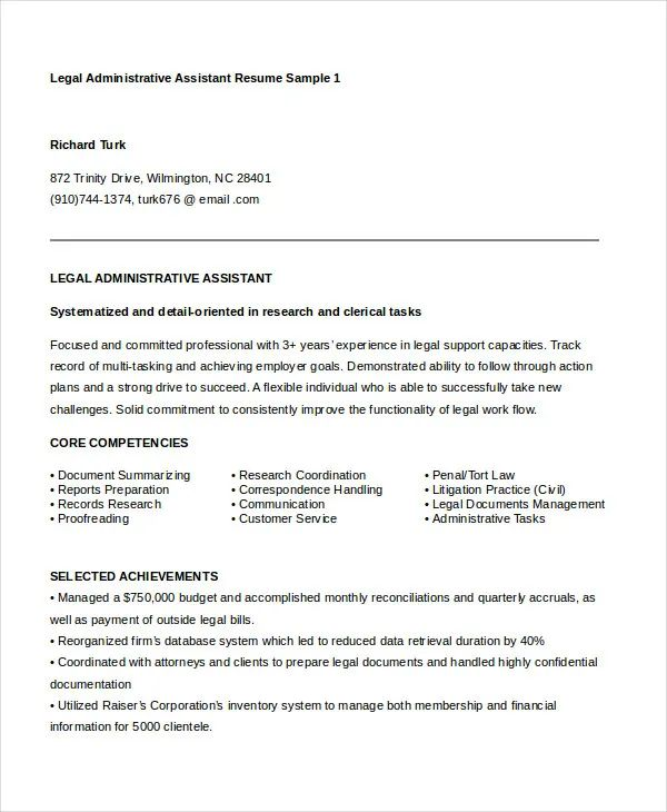legal assistant resume templates free