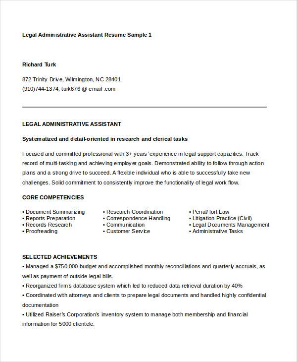 legal resume doc