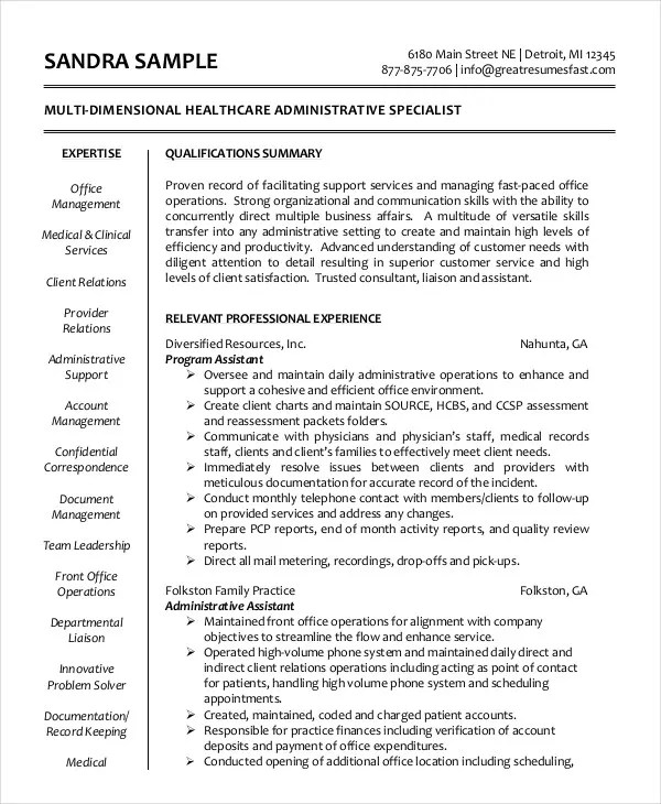 Administrative Assistant Resume - 14+ Free Word, PDF, PSD - medical administrative assistant resume