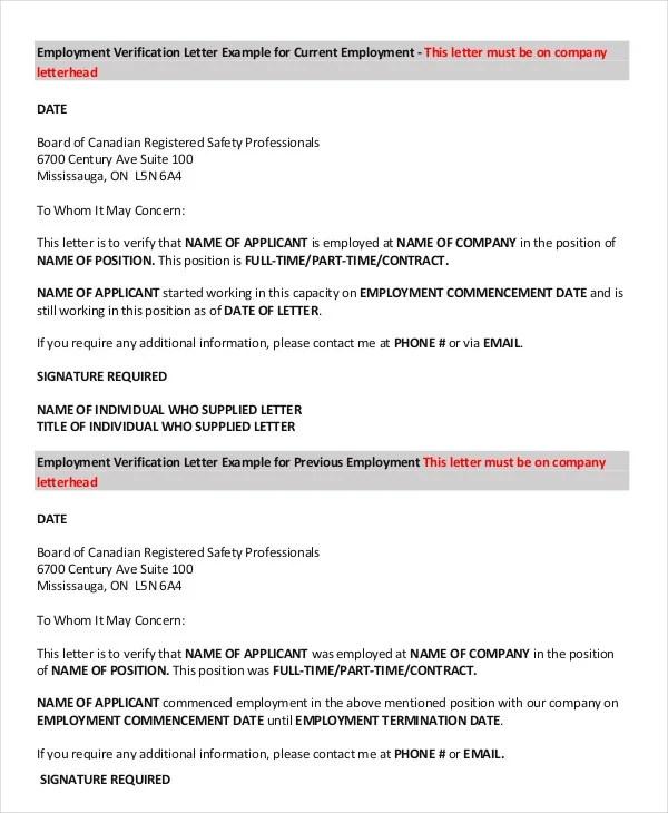 Employment Verification Letter - 8+ Free PDF Documents Download - previous employment verification letter
