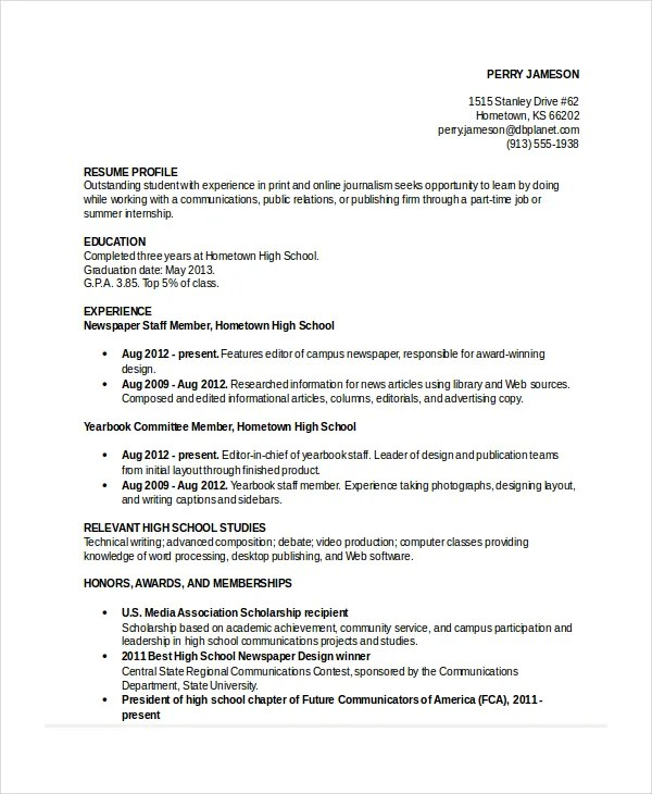 10+ High School Resume Templates, Examples, Samples Format Free - Best High School Resume