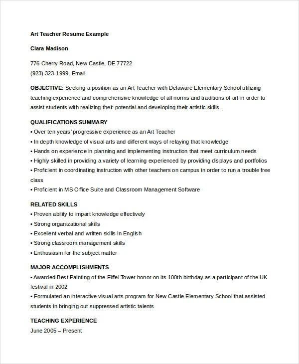 Teacher Resume - 9+ Free Sample, Example, Format Free  Premium - sample art teacher resume