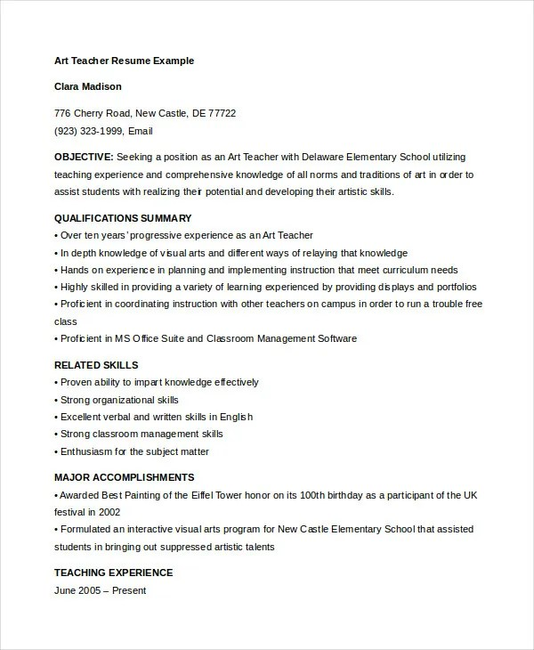 Teacher Resume - 9+ Free Sample, Example, Format Free \ Premium - yoga instructor resume
