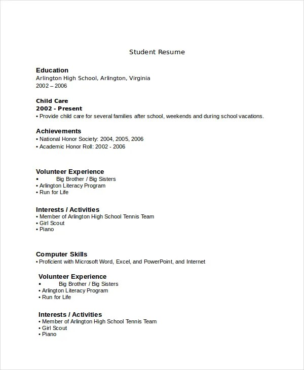 high school resume template word for study pdf printable students - Resume With No Experience High School