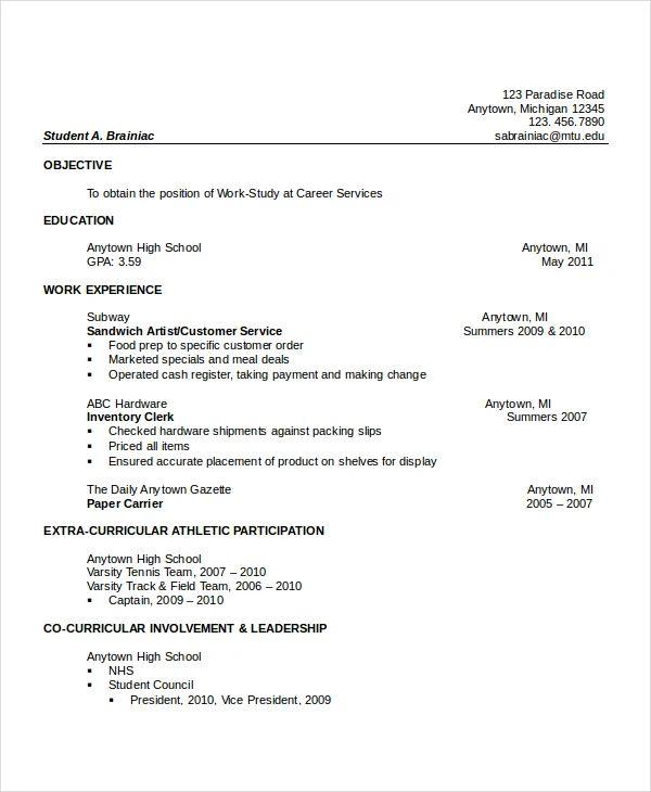 activities resume high school