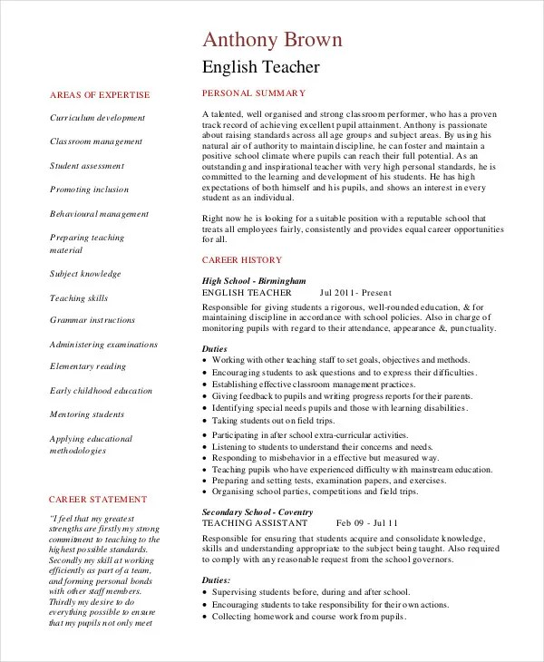 Sample Resume English Teacher Position \u2013 resume