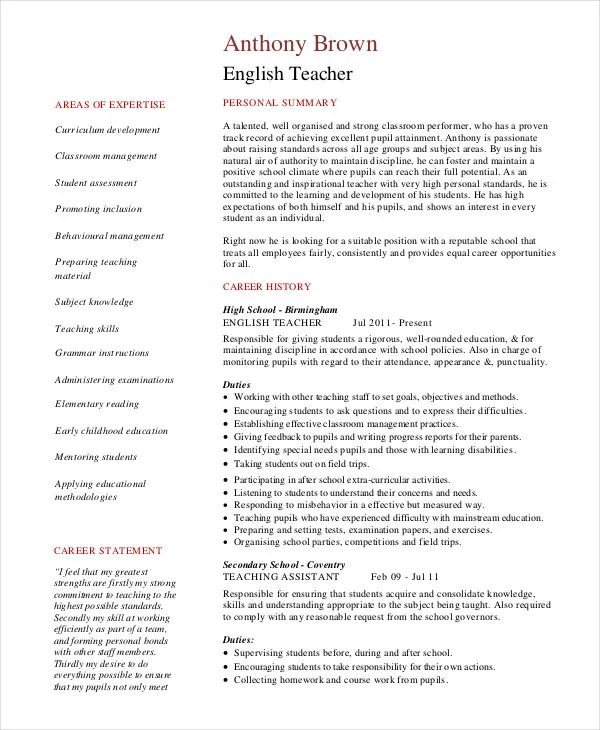 english resume sections