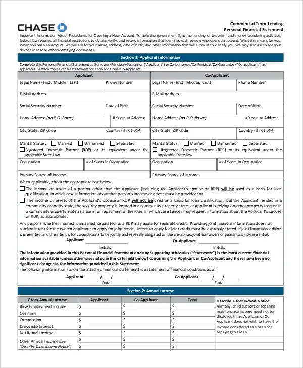 Personal Financial Statement - 9+ Free Excel, PDF Documents - sample personal financial statement