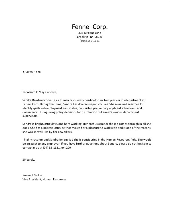 Letter Of Recommendation Format - 15+ Free Word, PDF Documents