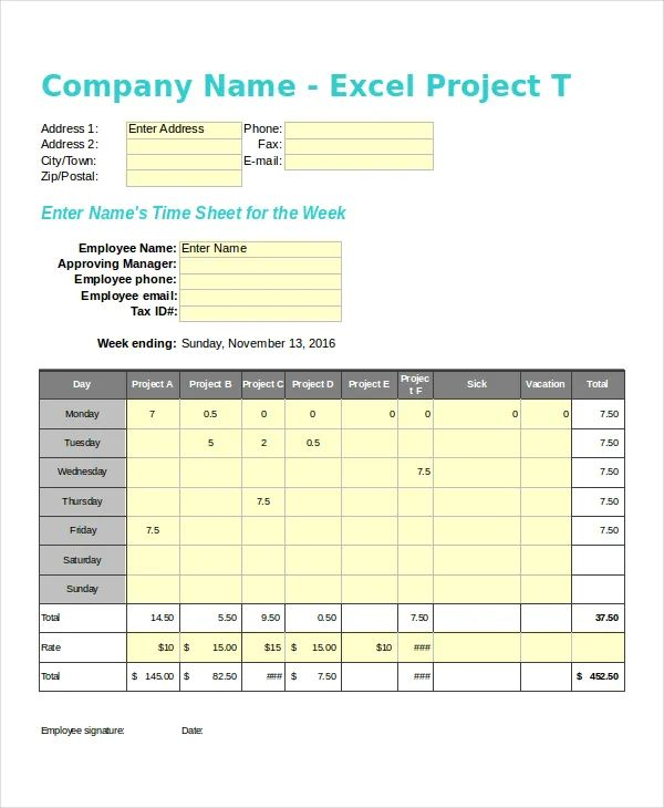 free excel project template