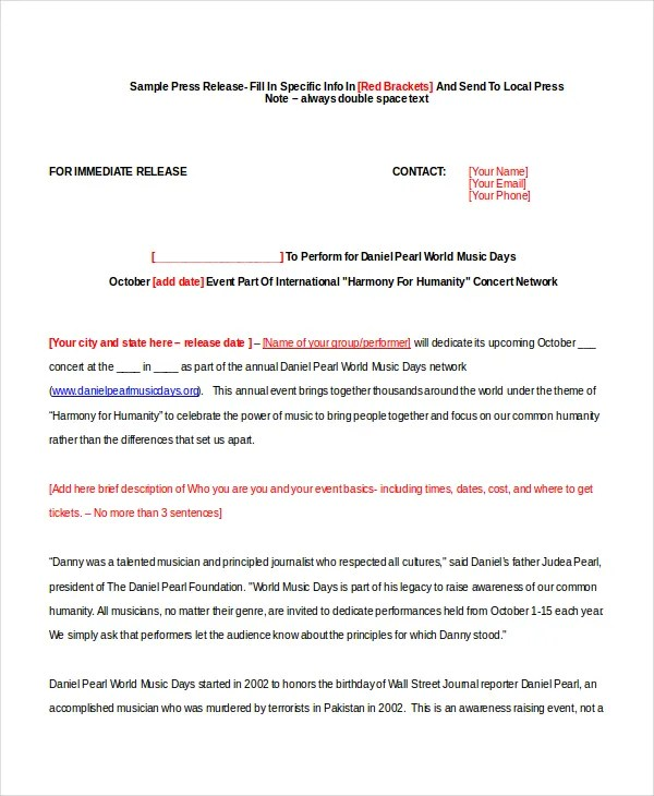 22+ Press Release Template - Free Sample, Example, Format Free - press release template