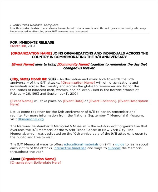 sample press release for events - Minimfagency - press release template