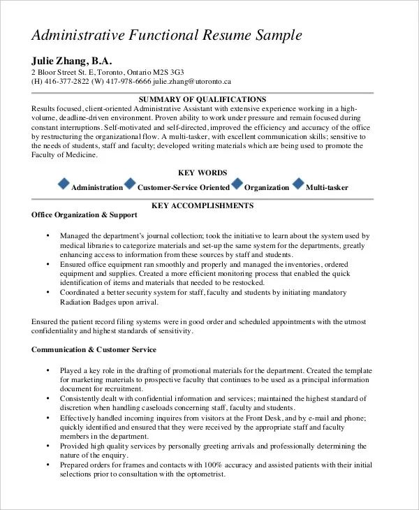 functional resume guidelines