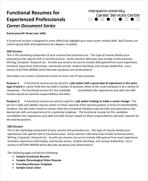10+ Functional Resume Templates - PDF, DOC Free  Premium Templates - how to create a functional resume