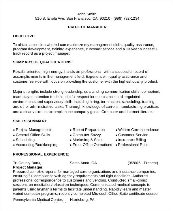 project management resume format