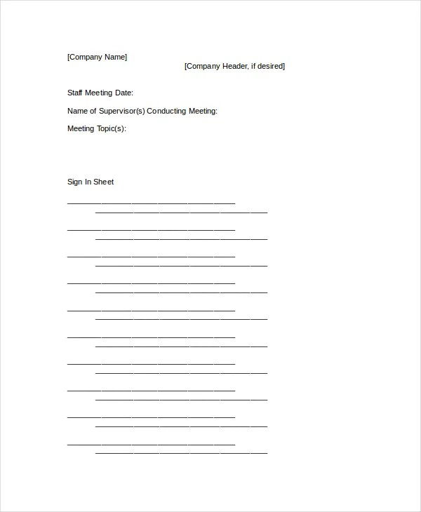 Sign In Sheet - 24+ Free Word, Excel, PDF Documents Download - meeting sign in sheet templates