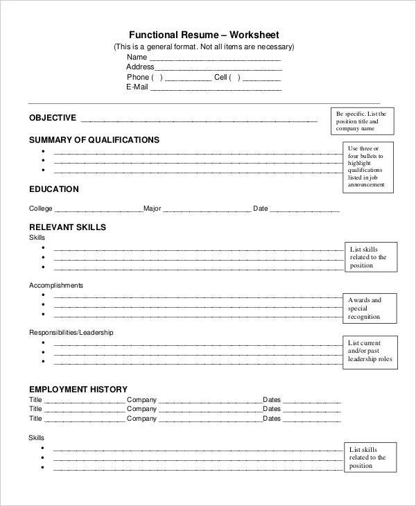resume worksheets pdf