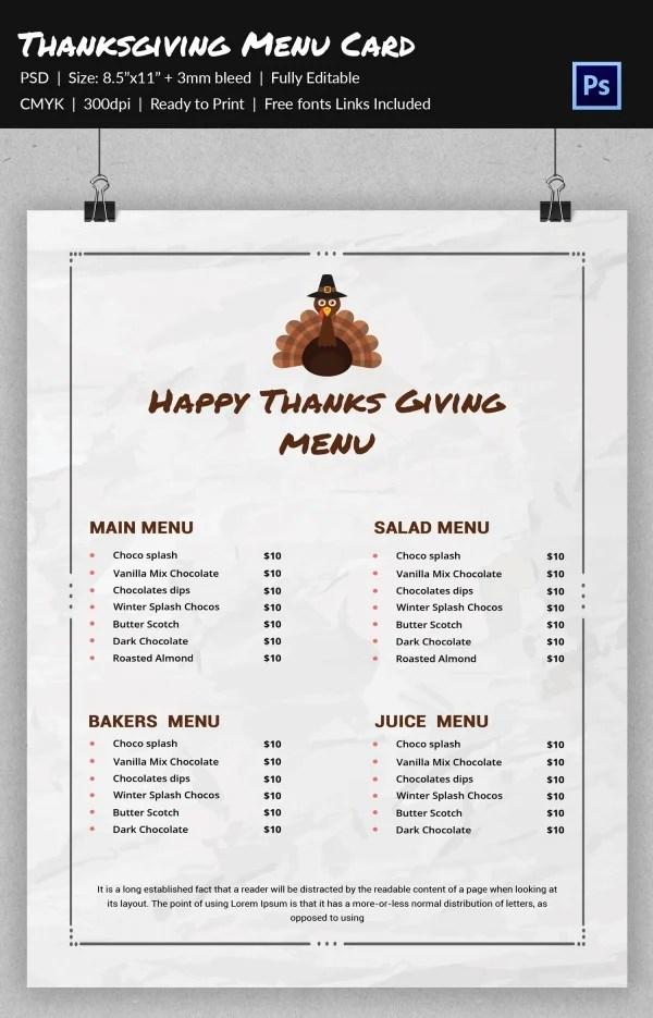 6+ Thanksgiving Menu Templates - Free Download Free  Premium