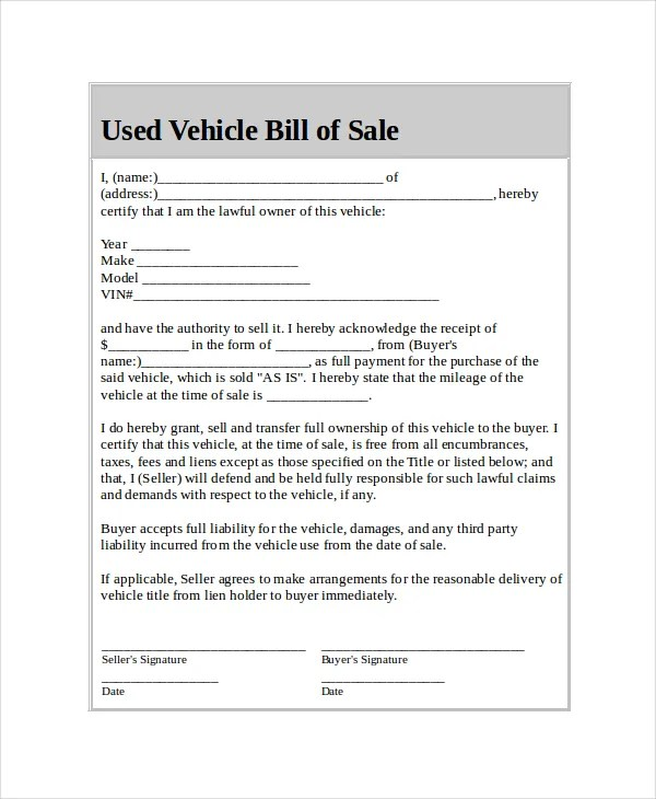 Car Bill of Sale - 5+ Free Word, PDF Documents Download Free - bill of sale for car