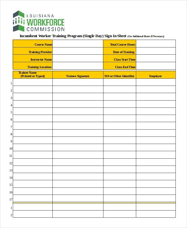 Sign In Sheet Template - 12+ Free Wrd, Excel, PDF Documents Download
