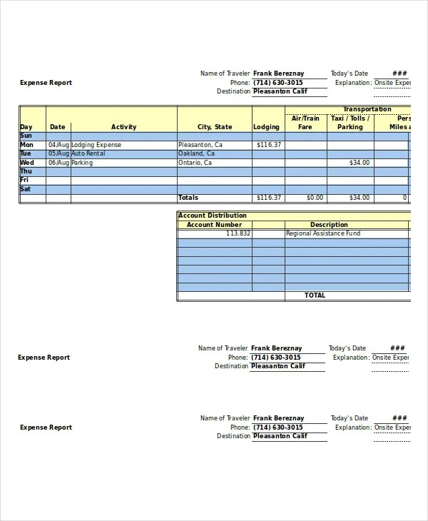 Expense Report - 11+ Free Word, Excel, PDF Documents Download Free - Excel Template Expense Report