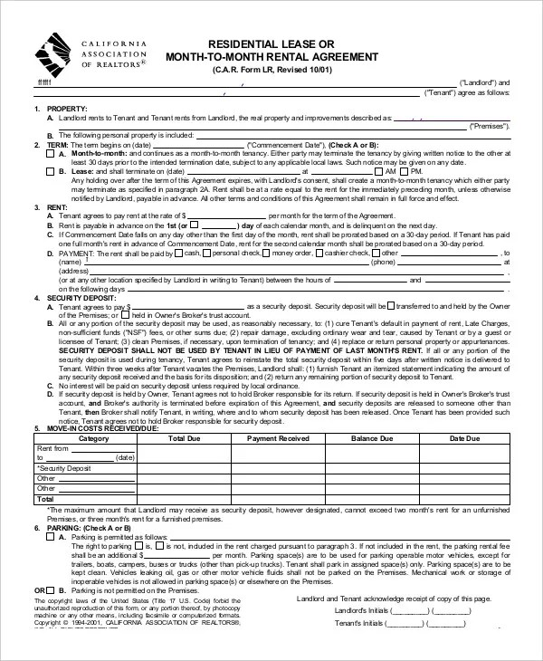 Standard Lease Agreements Printable Residential Lease