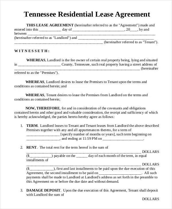 18+ Printable Residential Lease Agreements - Word, PDF Free