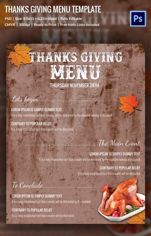 Thanksgiving Menu Template - 28+ Free PSD, EPS Format Download