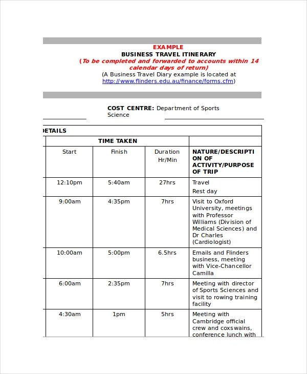 9+ Itinerary Templates - Free Sample, Example, Format Free - business itinerary template