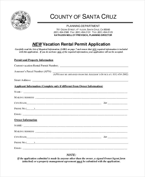Rental Application Form   9+ Free Sample, Example, Format Free   Vacation  Rental