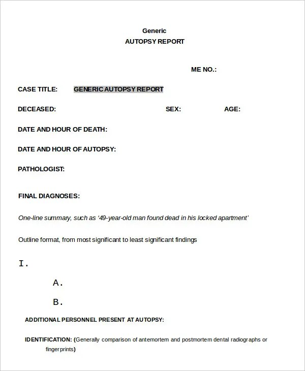 postmortem report template - Onwebioinnovate