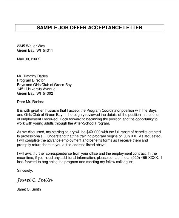 job offer sample - Towerssconstruction