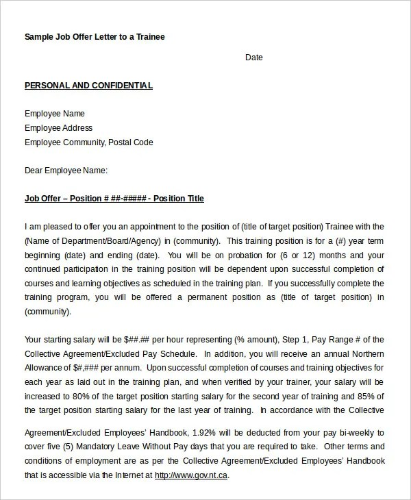Job Offer Letter - 9+ Free Sample, Example, Format Free  Premium